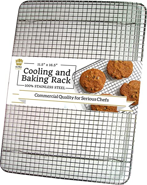 Ultra Cuisine 100 Stainless Steel Wire Cooling Rack For Baking Fits Half Sheet Pans Cool Cookies Cakes Breads Oven Safe For Cooking Roasting Grilling Heavy Duty Commercial Quality