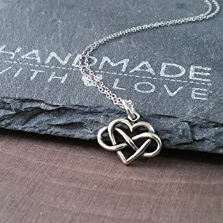 Sterling Silver Petite Infinity Heart Charm Necklace, 18