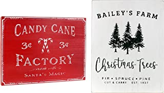 """AuldHome Vintage Christmas Wall Art 2-Picture Set, Farmhouse Style Wood Signs """"Christmas Tree Farm"""" and """"Candy Cane Factory"""" Holiday Wall Decor, 17 x 13 Inches Large Pictures"""