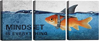 3 Panels Modern Framed Inspirational Canvas Wall Art Goldfish Body Strong Shark Heart Mindset is Everything Motivational Wooden Decor Posters for Office Gym Classroom Home Decoration(48''W x 24''H)