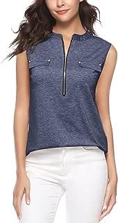 iClosam Women's V-Neck Sleeveless Zip up Tunic Shirt Tank Tops (S-2XL)