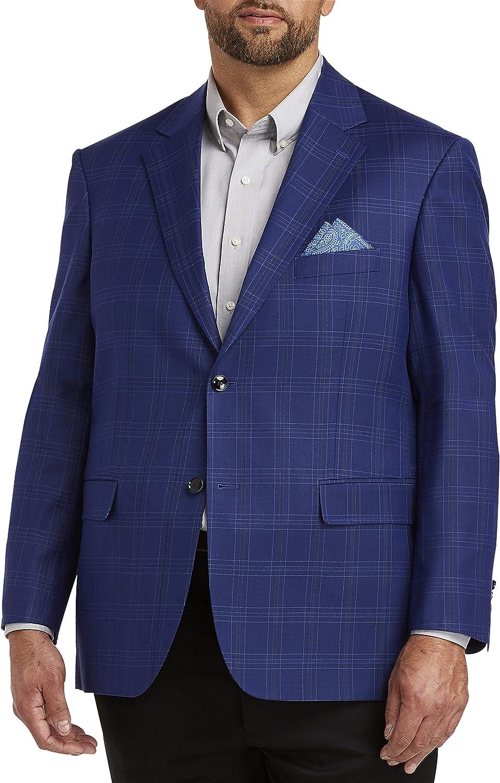 Oak Hill by DXL Big and Tall Windowpane Sport Coat, Blue
