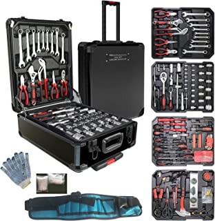 799pcs Aluminum Trolley Case Tool Set Silver, House Repair Kit Set, Household Hand Tool Set, with Tool Belt,Gift on Fathe...