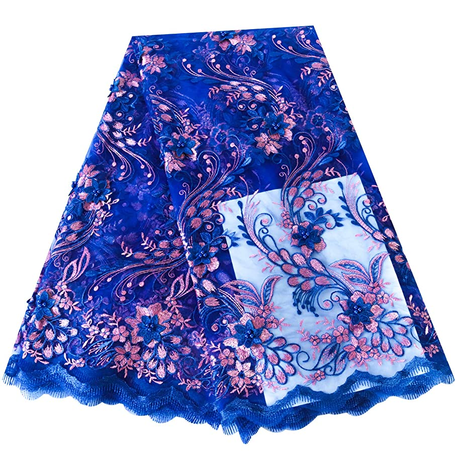 5 Yards African Lace Fabrics 3D Flower Rhinestones Beads Nigerian French Lace Fabric with Fashion Eco-Friendly Tulle Embroidery for Party Dress Wedding Dress (Dark Blue)