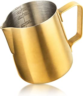 Milk Frother Cups, ENLOY Stainless Steel Frosting Finish Coffee Milk Frothing Pitcher, Perfect for Espresso Machines, Milk...