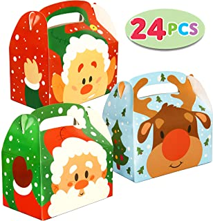 24 PCs 3D Christmas House Cardboard Treat Boxes (6