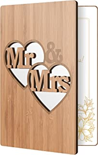 Wedding Card Handmade With Real Bamboo Wood: High End Wooden Wedding Gift For Newlyweds, Greeting Cards Perfect For Engagement, Mr & Mrs, Anniversary, Married Couple Cards
