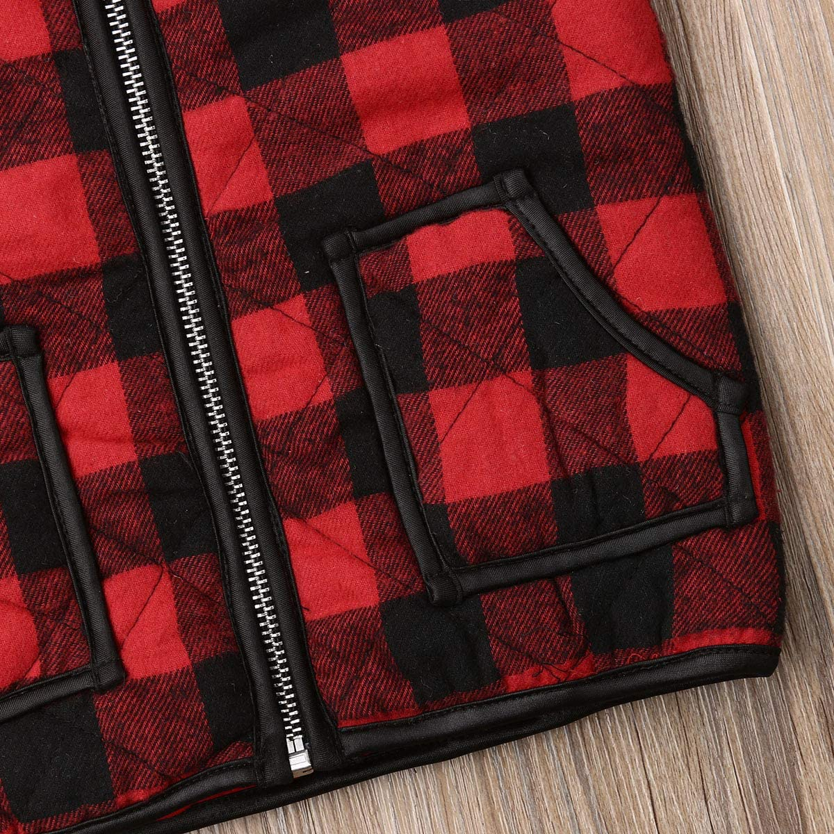 Toddler Unisex Baby Girl Boy Plaid Zipper Jacket Kids Sleeveless Winter Warm Waistcoat Vest Pocket Coat Chritmas Tops