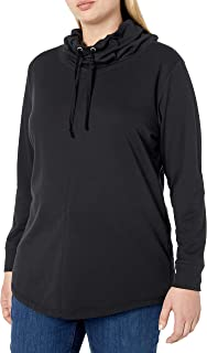 JUST MY SIZE Women`s Plus Size French Terry Cowl Neck Tunic