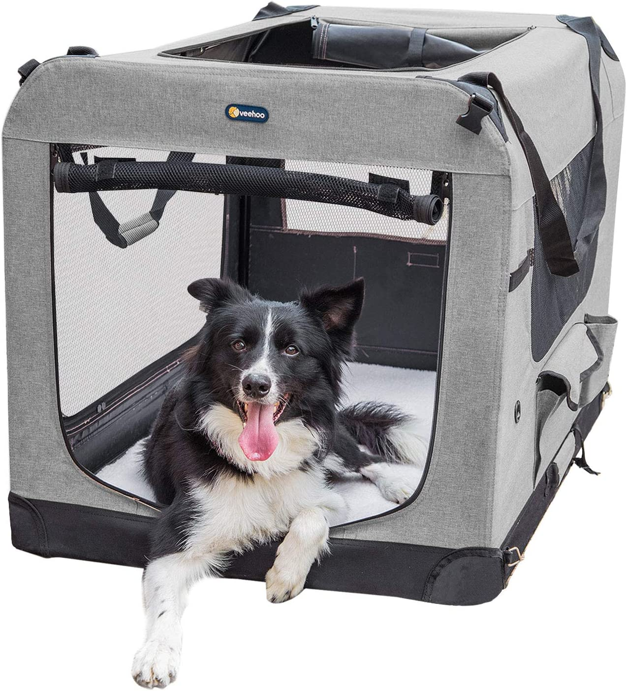 It is very Outlet SALE popular Veehoo Folding Soft Dog Crate Pet Crate-Train 3-Door Kennel for