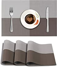 HOKIPO® PVC Vinyl Washable Table Mats for Dining Table - 45x30 cm Placemats Set of 4, Brown (AR863)