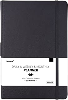 """Undated Daily/Monthly Planner + Calendar Stickers and Monthly & Weekly to-DO List to Improve Productivity, Premium Thick Paper, Pen Holder, 5.75"""" x 8.25"""", Inner Pocket, 12 Months Guarantee, Gift Box"""