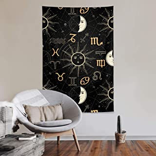 Tapestry Wall Hanging Sun Moon Stars Tarot Constellation Astrology Tarot Black and White Art Tapestries Backdrop Blankets ...