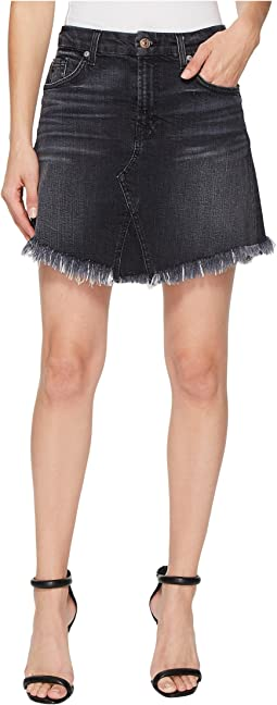 7 For All Mankind - Mini Skirt w/ Scallop Raw Hem in Vintage Bedford Black 3