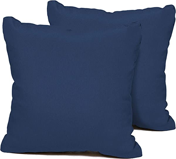 TK Classics PILLOW NAVY S 2x Outdoor Square Throw Pillows Set Of 2 Navy