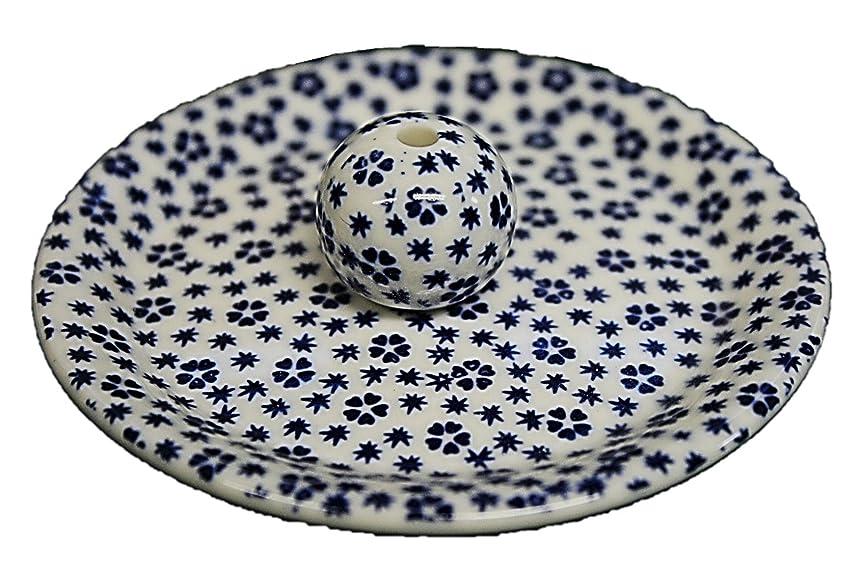 おじさんアプライアンス抽象化9-39 桜小紋 青 9cm香皿 お香立て お香たて 陶器 日本製 製造?直売品