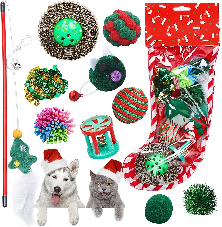 Sanlebi Max 77% OFF Popular overseas Christmas Cat Toys Stocking - PCS Chasing Int Pet 10