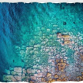 Turquoise Ocean Shower Curtain, Summer Sea Beach Coastal Rustic Brick Art Print, Polyester Fabric Bathroom Decor Set with Hooks,72x72 inch,Turquoise,Beige, Teal