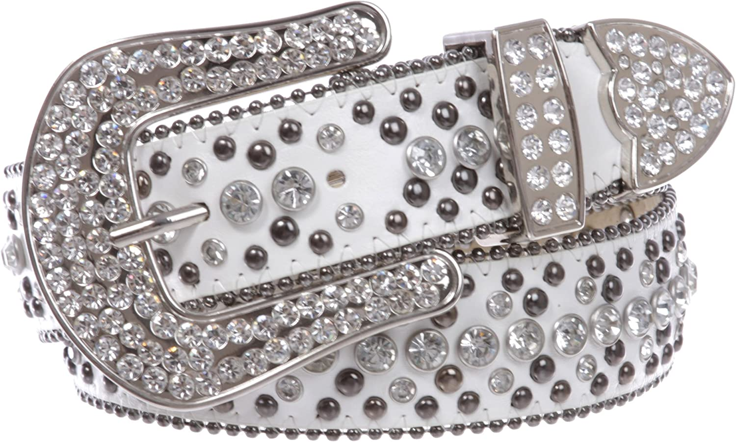 1 1 2  Women's Snap On Rhinestone and Gun Metal color Circle Studded Leather Belt, White   S M  31