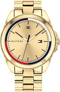 Tommy Hilfiger Men's Quartz Watch with Gold Tone Stainless Steel Strap, 22 (Model: 1791686)