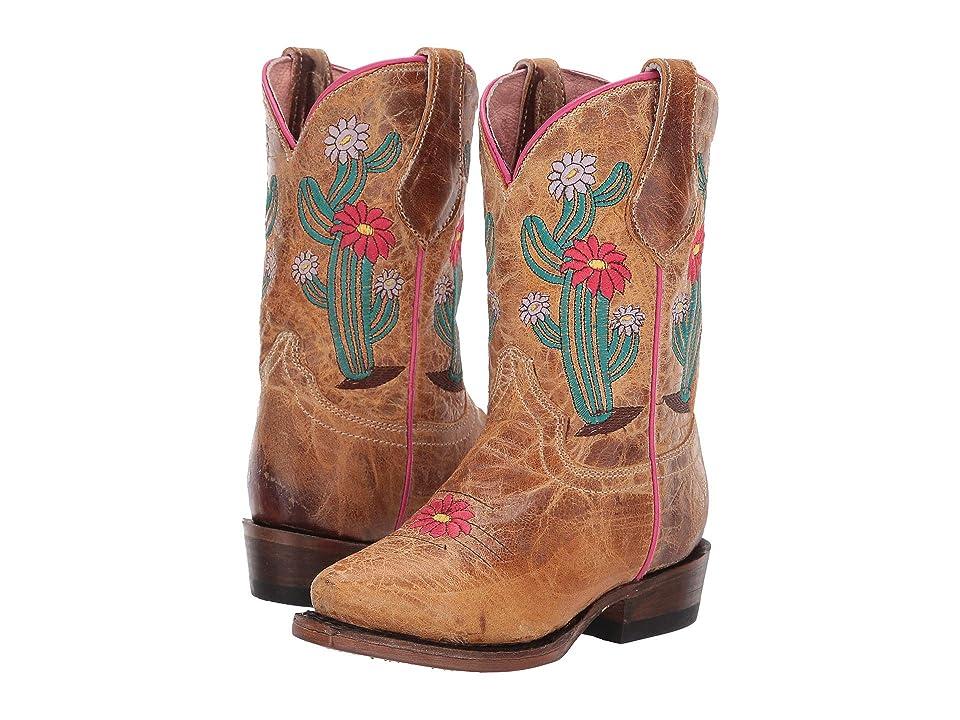 Roper Kids Snip Cactus Flower (Toddler/Little Kid) (Waxy Tan Vamp & Shaft/Cactus) Cowboy Boots