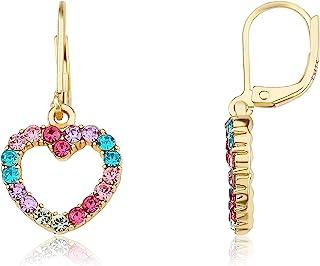 گوشواره کودکانه Miss Miss Twin Stars - گوشواره 14k روکش طلا چند رنگ Rainbow Dangle Leverback - ضد حساسیت و نیکل برای گوش های حساس