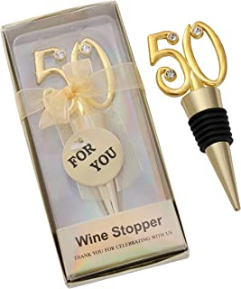 WeddParty 12PCS 50th Wine Stopper Wedding Anniversary Favor Birthday Party Decoration Wine Bottle Stopper,Wedding Favors for Guests, 50 Golden Party Return Gift Birthday Bride Shower Party Gift
