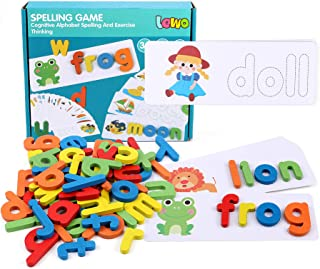 Lewo Alphabet Flash Cards See Spelling Learning Toys Matching Letter Puzzles Game Preschool Educational Toys with 28 Flash...