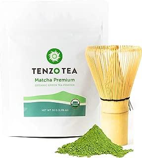 Tenzo Tea (Whisk Included in Box) - Ceremonial Grade Matcha Green Tea Powder (For Sipping as Tea) - USDA Organic, Kosher, Vegan, Paleo/Keto Friendly (30 Gram + Whisk)
