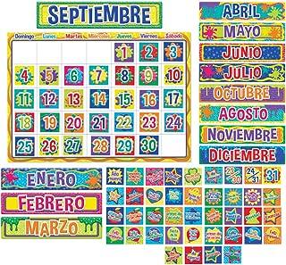 Eureka Color My World Spanish Calendar Bulletin Board and Classroom Decorations, 82pc, 17'' W x 24'' L