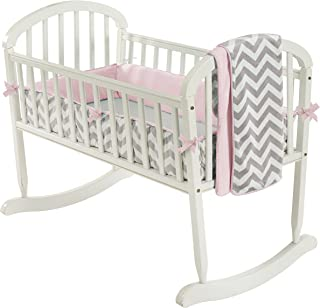 Baby Doll Bedding Minky Chevron Cradle Bedding Set, Pink