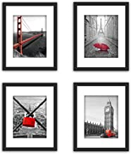 SmartWallStation 4Pcs 1Pcs 11x14 Tempered Glass Wood Frame Black White, with 3X Mat Fit 8x10 5x7, 2 Holes 4x6 inch Family Kid Photo, Wall Horizontal Office Sea Beach Flower (9 Set Pictures) (1)