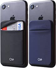[Two] Stretch Card Sleeves Stick On Wallet for Cell Phone Card Holder Adhesive Sticker ID Credit Card Holder for Back of Phone (Black + Navy)