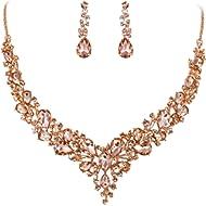 BriLove Women's Wedding Bridal Austrian Crystal Teardrop Cluster Statement Necklace Dangle...