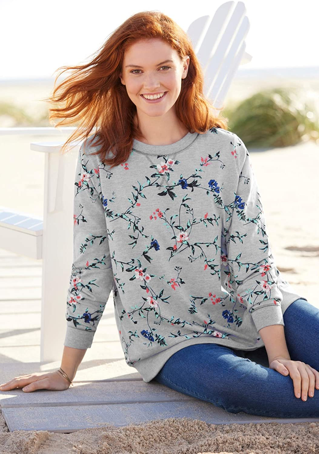 Woman Within Women's Plus Size French Terry Sweatshirt