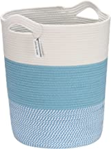 Sea Team Large Size Cotton Rope Woven Storage Basket with Handles, Laundry Hamper, Fabric Bucket, Drum, Clothes Toys Organ...