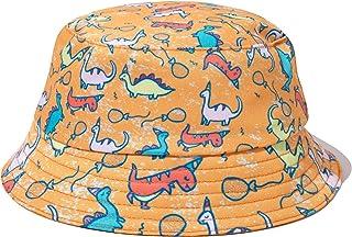 PattyCandy Orange Dinosaur Seamless Sun Hat Reversible Bucket Hat for Kids - M
