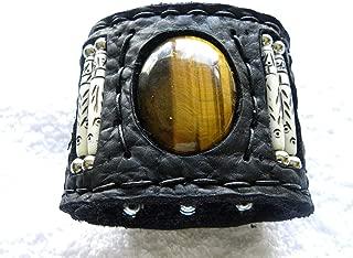 Tiger eye stone Ketoh Bracelet black large cuff Buffalo Bison leather customize to wrist size motorcycle biker wristband