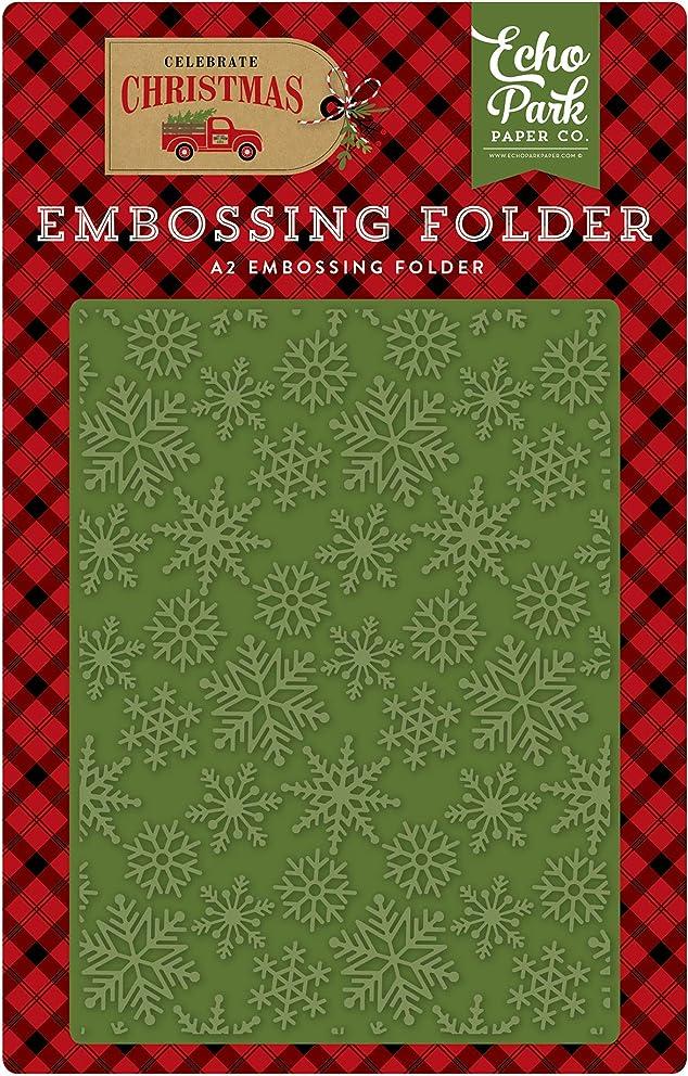 Echo Park Paper Company CCH159031 Snow Flurry Embossing Folder, Red/Green/Tan/Burlap/Black