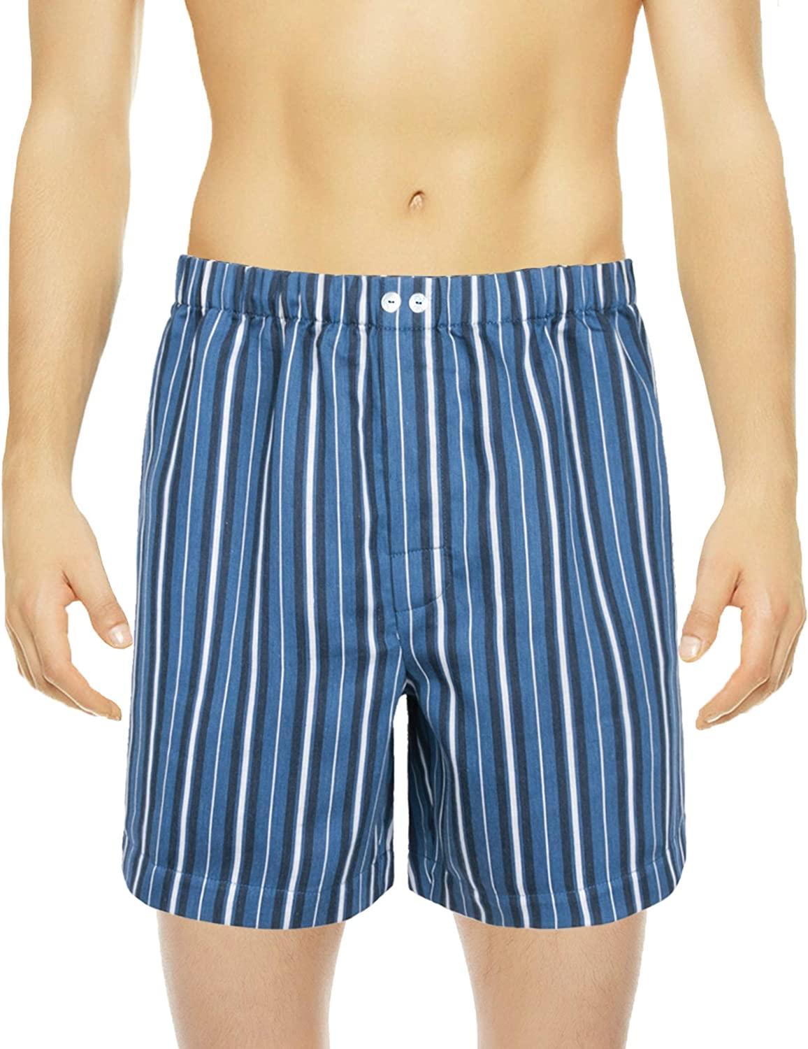 Blue Striped Boxers Shorts Ranking TOP14 Ranking integrated 1st place Full Luxurious Cut Linen Sateen Cott