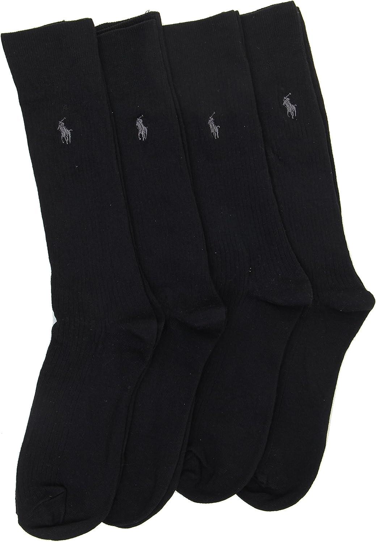 Polo Ralph Lauren Men's Dress Ribbed Socks - Black - 4 Pairs
