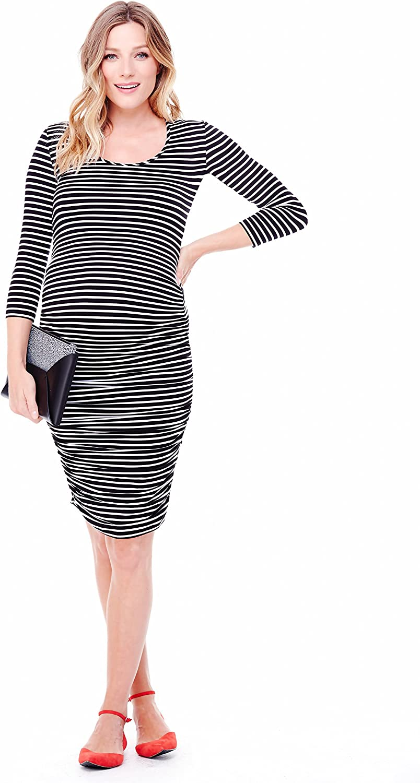 Ingrid & Isabel Women's Maternity Stripe 3 4 Sleeve Shirred Dress