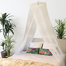 Bobo & Bee - Premium Bed Canopy Mosquito Net Curtains Includes 3 Boho Pom Pom Decorations and Hanging Kit, Large Queen Size, White, For Girls, Toddlers And Adults Or Over Baby Crib