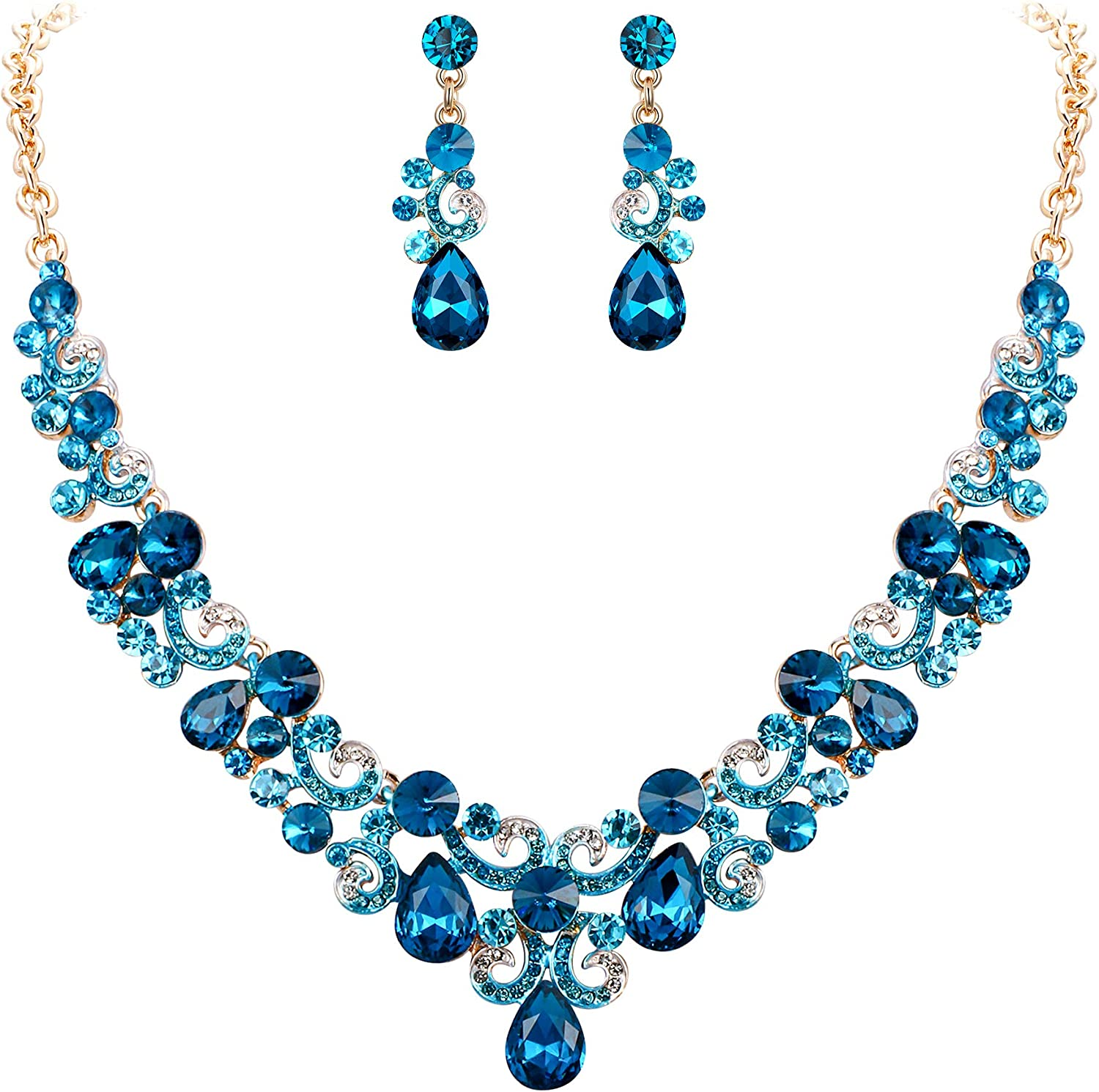 EVER FAITH Wedding Bridal Jewelry Accessory Crystal Elegant Teardrop Floral Wave Necklace Earrings Set for Women