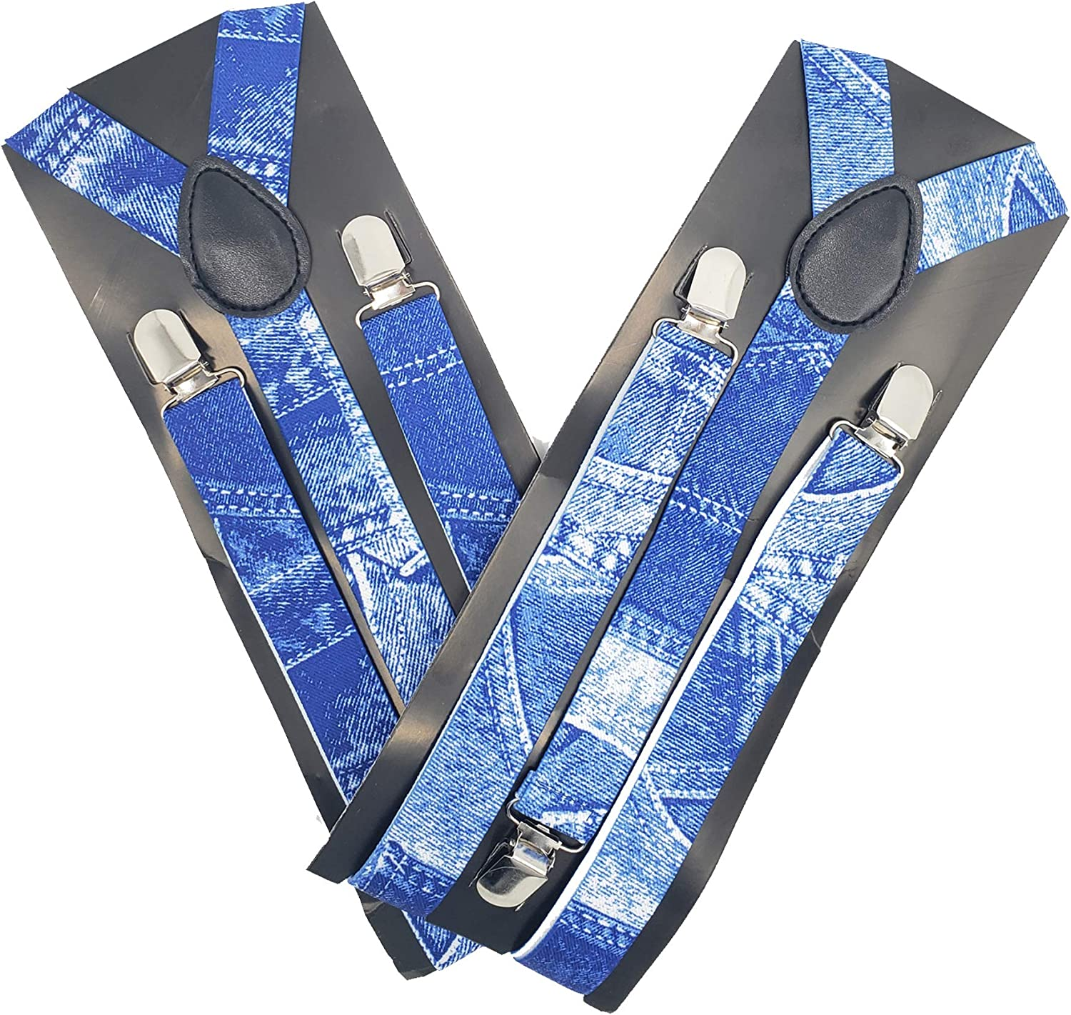 Blue Jean Suspenders (2 Pack) - Adjustable Elastic Clip-On Y-Back for Men and Women in jean colors