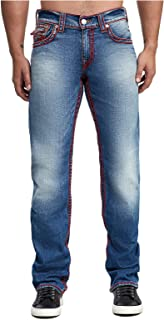 True Religion Mens Red Silk Chainstitch Ricky Straight Leg Jeans w/Flap Pockets in Set
