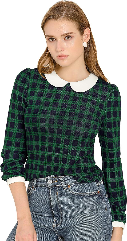 Allegra K Women's Peter Pan Collar Contrast Puff Sleeve Plaid Shirt Blouse