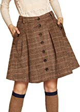 Artka Women's Vintage Wool Blend Button Down Plaid A Line Skirt