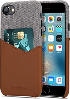 Tasikar Compatible with iPhone 8 Case/iPhone 7 Case Card Holder Slot Wallet Case Premium Leather and Fabric Design Compati...