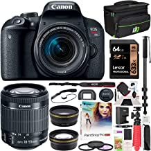 Canon EOS Rebel T7i DSLR Digital SLR Camera with EF-S 18-55mm f/4-5.6 is STM Lens Kit + 0.43x Wide Angle Lens + 2.2X Telephoto Lens + Deco Gear Case + 64GB Memory Card Accessory Bundle